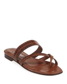 e0ce1ad2c401f Manolo Blahnik Susa Strappy Snakeskin Slide Sandals