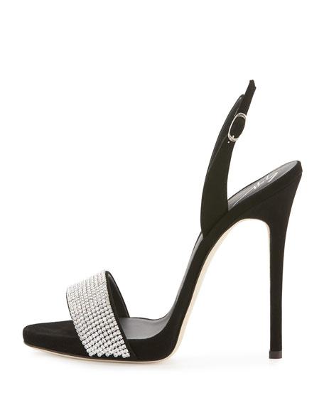 Crystal-Embellished Slingback Sandal