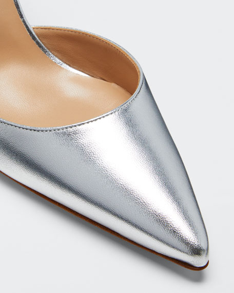Carolyne Metallic Leather Mid-Heel Slingback Pump
