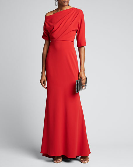 Image 1 of 1: Asymmetric One-Shoulder Elbow-Sleeve Column Gown