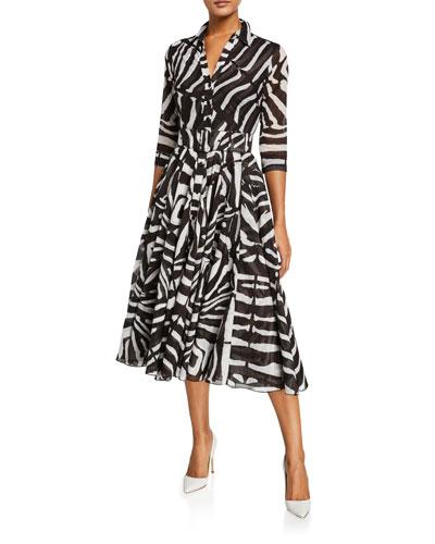 Aster Zebra Pony 3/4-Sleeve Belted Big Musola Midi Dress