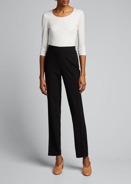 Francoise Slim-Straight Pants, Black