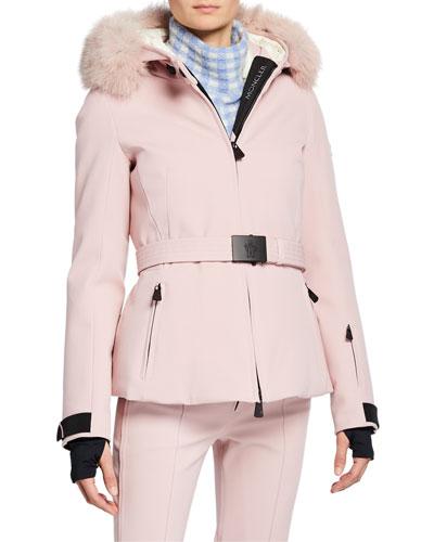Bauges Belted Jacket w/ Removable Fur Trim
