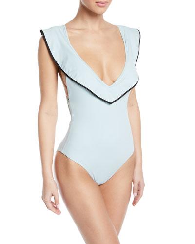Sedona Ruffle Cross-Back One-Piece Swimsuit