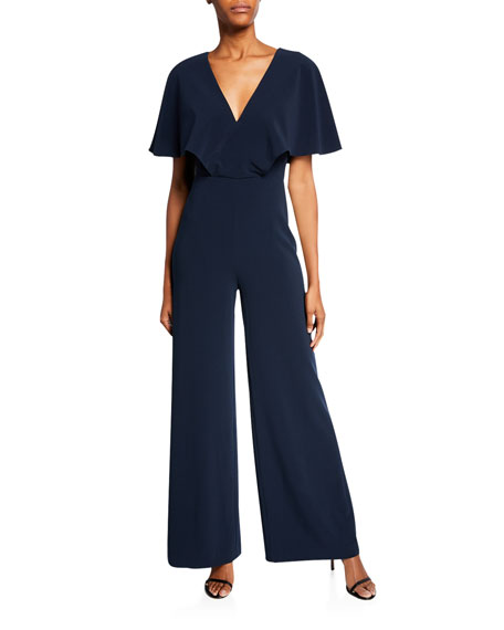 Image 1 of 1: Flowy Cape-Sleeve V-Neck Wide-Leg Jumpsuit