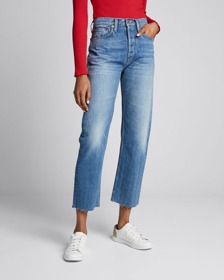 High-Rise Distressed Cropped Stovepipe Jeans