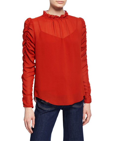Long-Sleeve Ruched Georgette Blouse