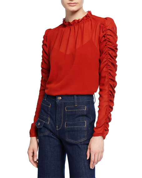 Image 1 of 1: Long-Sleeve Ruched Georgette Blouse