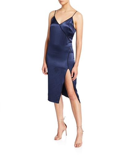 Piped V-Neck High-Slit Dress