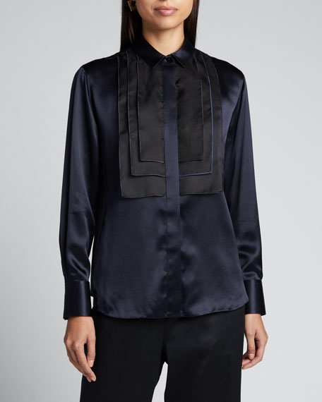 Mulberry Silk Satin Bib Blouse