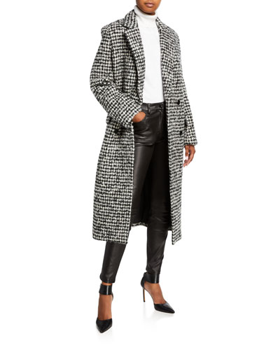 Huaraz Houndstooth Double-Breasted Coat