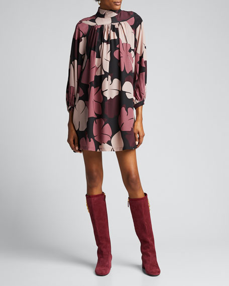 Doll Retro Printed Silk Dress