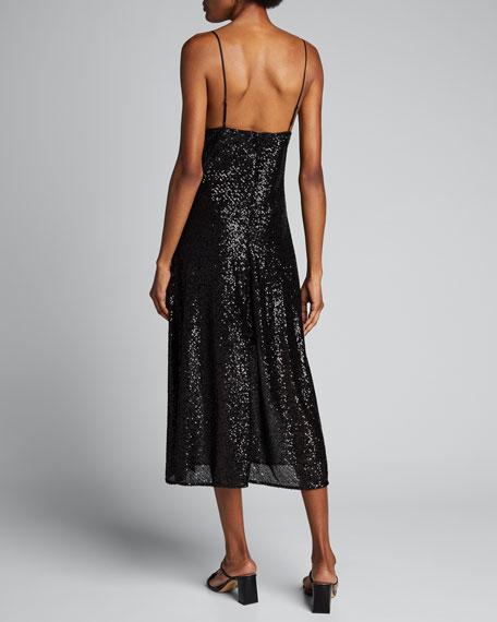 Sequin Embroidered Cowl-Neck Slip Dress