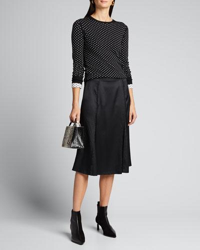 Mini Polka Dot Crewneck Regal Wool Sweater