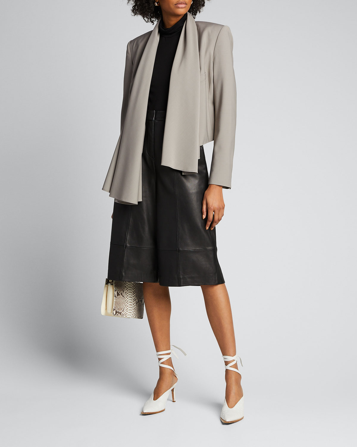 Tibi Blazers Tropical-Wool Scarfed Crop Blazer