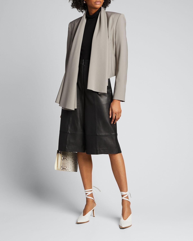 Tibi Blazers Tropical-Wool Scarfed Crop Blazer