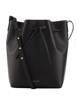 Mansur Gavriel Structured Leather Bucket Bag, Black/Red