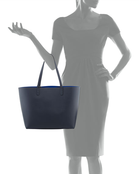 Large Leather Tote Bag with Coated Interior