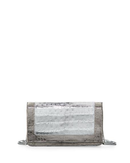 Small Crocodile Chain Shoulder Bag, Silver