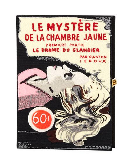 Le Mystere de la Chambre Jaune Book Clutch Bag, Black
