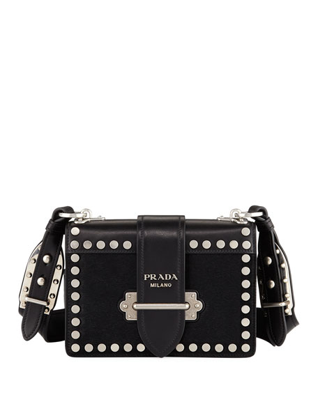 Prada Embellished Cahier Leather Shoulder Bag j7wHE