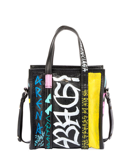 Balenciaga Bazar Small Graffiti-Print AJ Shopper Tote Bag