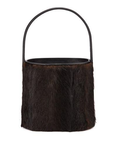 Bissett Faux Mink Top-Handle Bucket Bag