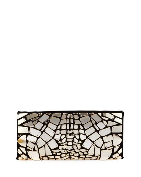 Mirror Embroidered Satin Clutch Bag