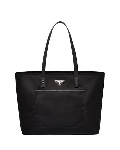 Nylon Shopper with Front Pocket