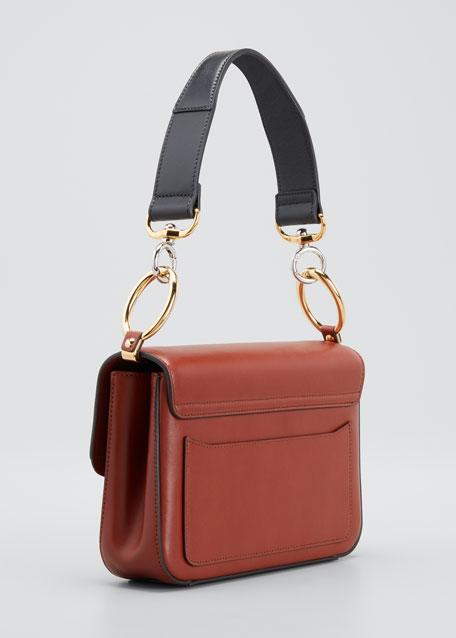 C Small Shiny Calf Leather Shoulder Bag