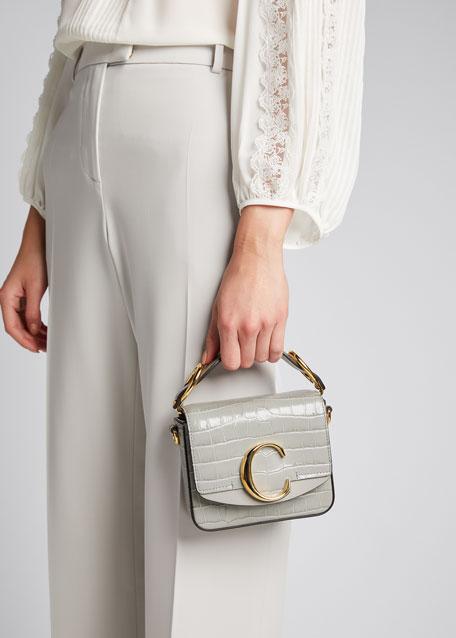 C Mini Croc-Embossed Calfskin Crossbody Bag