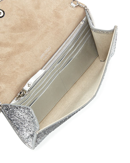 Emmie Glittered Leather Clutch Bag