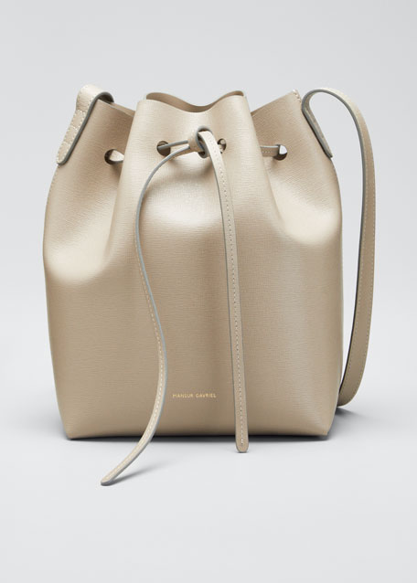 Image 1 of 1: Mini Saffiano Leather Bucket Bag