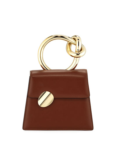 Brigitta Small Flap Top Handle Bag  Brown