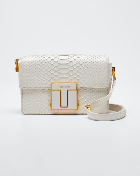 T-Clasp Semi-Shiny Python Shoulder Bag