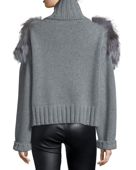 Shein Grey Turtle Neck Faux Fur Cuff Sweater Casual: Sally LaPointe Fox Fur-Trimmed Turtleneck Sweater, Gray