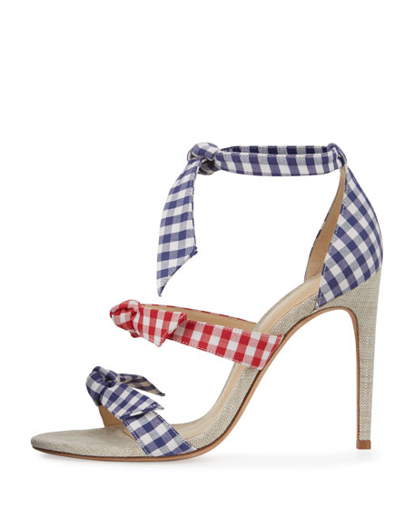 Lolita Gingham Three-Strap Sandal, Blue/Red
