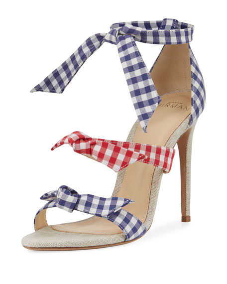 Image 1 of 1: Lolita Gingham Three-Strap Sandal, Blue/Red