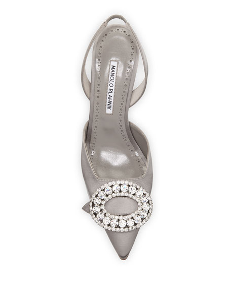 Fiboslac Crystal-Embellished Satin Halter Pumps