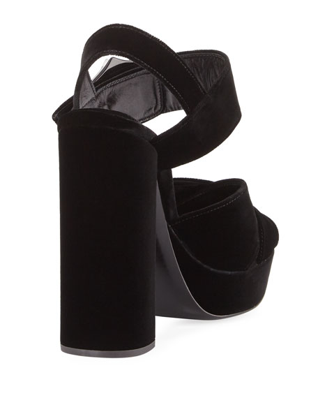 Jeweled Velvet Block-Heel Sandal, Black