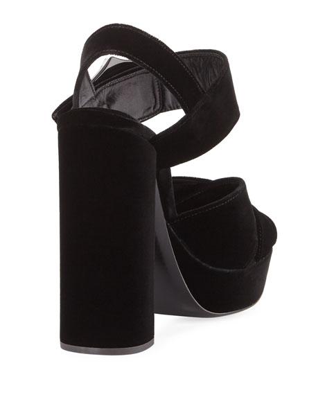 Jeweled Velvet Block-Heel Sandal, Black