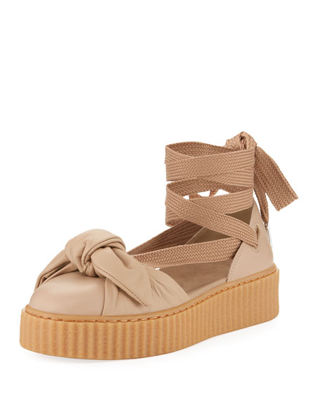 Leather Bow Creeper Sandal, Natural