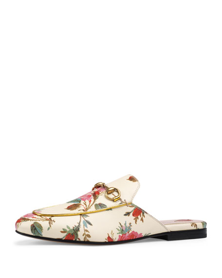 Princetown Floral-Print Flat Mule Loafer