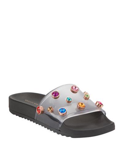 Dina Flat Slide Pool Sandals  Black
