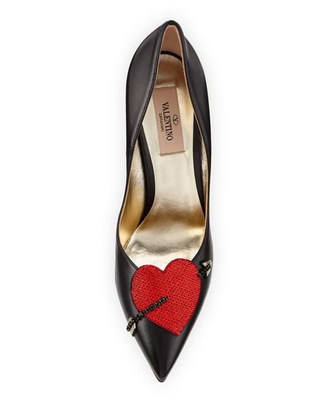 Heart Leather 110mm Pumps