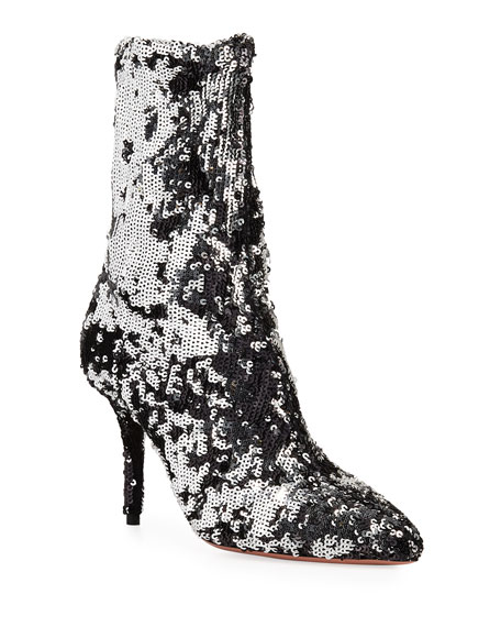 Aquazzura Costes Sock Sequin Booties