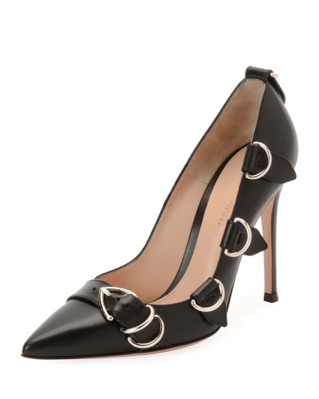 Leather Buckle-Strap Pointed High Pumps