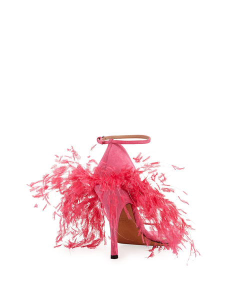 High-Heel Sandal with Feathers