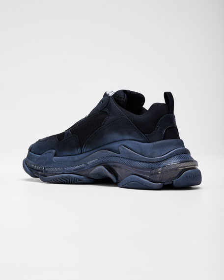 Triple S Air Nylon Sneakers with Logo, Noir