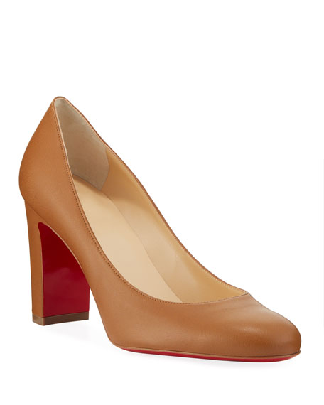 Image 1 of 1: Lady Gena Block-Heel Leather Pumps